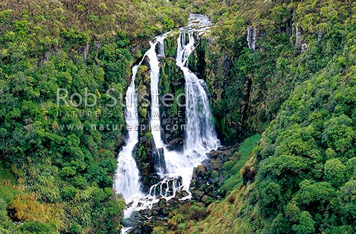 Waipunga Falls on the Waipunga River, Napier Taupo Road, Hawke's Bay, Taupo District, Hawke's Bay Region, New Zealand (NZ) stock photo.