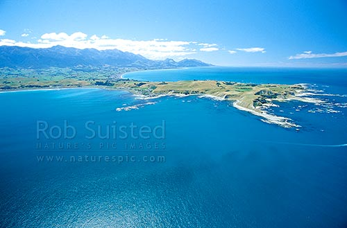 Aerial view of the Kaikoura Peninsula from the South east; late summer, Kaikoura, Kaikoura District, Canterbury Region, New Zealand (NZ) stock photo.