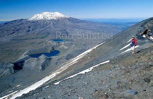 Looking from Mount (Mt) Ngauruhoe (2287m) across Tama lakes to Mount (Mt) Ruapehu (2797m), Tongariro National Park, Ruapehu District, Manawatu-Wanganui Region, New Zealand (NZ) stock photo.