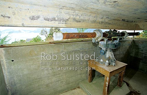 Historic WWII range finder in concrete bunker above the Maud Island Gun Emplacement, Maud Island, Marlborough Sounds, Marlborough District, Marlborough Region, New Zealand (NZ) stock photo.