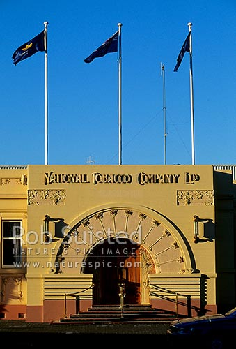 Art Deco 'Rothmans' building in Napier, Napier City, Napier City District, Hawke's Bay Region, New Zealand (NZ) stock photo.