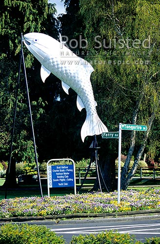 Taupo giant trout sculpture, Taupo, Taupo District, Waikato Region, New Zealand (NZ) stock photo.