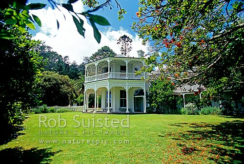 Sir George Grey's historic Mansion House built from 1862 in Bon Accord Harbour and Mansion House Bay, Kawau Island, Rodney District, Auckland Region, New Zealand (NZ) stock photo.