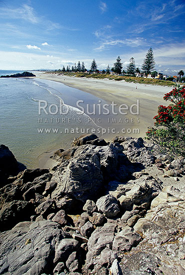 Mount (Mt) Maunganui beach from Moturiki Island, Mt Maunganui, Tauranga District, Bay of Plenty Region, New Zealand (NZ) stock photo.