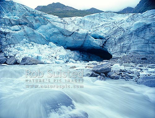 Franz Joseph Glacier and Waiho River, Franz Josef, Westland District, West Coast Region, New Zealand (NZ) stock photo.