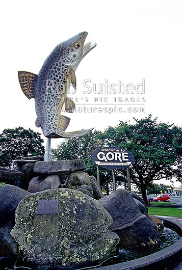 Giant brown trout statue in Gore - celebrating as the 'brown trout capital of the world', Gore, Gore District, Southland Region, New Zealand (NZ) stock photo.