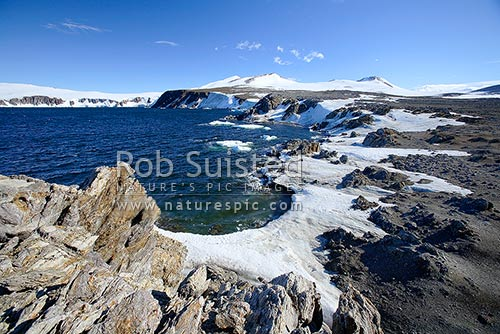 Coast of Terra Nova Bay from near Gondwana Station base. Victoria Land, Ross Sea, Antarctica District, Antarctica Region, Antarctica stock photo.