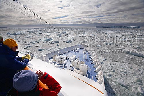 Expedition vessel MV Orion amongst brash ice, pack ice and tabular icebergs, Cape Adare, Ross Sea, Antarctica District, Antarctica Region, Antarctica stock photo.