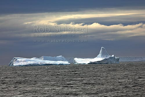 Grounded tabular icebergs, Cape Adare, Ross Sea, Antarctica District, Antarctica Region, Antarctica stock photo.