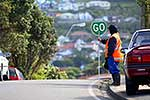 Roadworker with Go sign