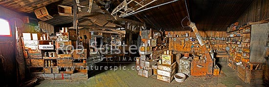 Panoramic view inside Captain Robert Falcon Scott's 1910-12 Terra Nova Expedition Hut at Cape Evans, Ross Island, Cape Evans, Ross Island, McMurdo Sound, Antarctica Region, Antarctica stock photo.