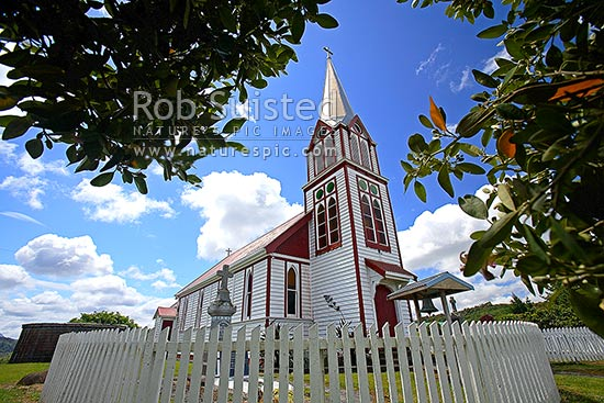 The Catholic Church of Our Lady of the Assumption, historic Gothic style church built at Motukaraka Point in 1910 overlooking Rawene and Hokianga, Motukaraka, Hokianga Harbour, Far North District, Northland Region, New Zealand (NZ) stock photo.