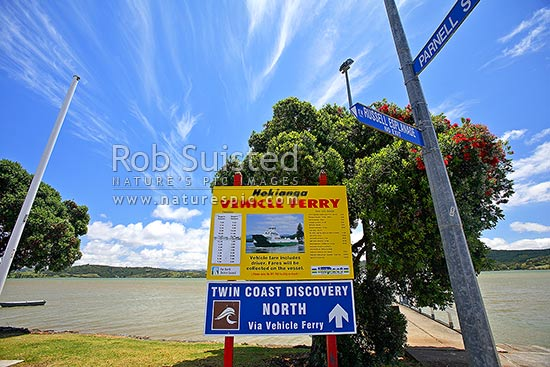 Hokianga Vehicle Ferry and road signs for the Rawene car ferry to Kohukohu, Rawene, Hokianga, Far North District, Northland Region, New Zealand (NZ) stock photo.