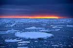 Antarctica sunset over sea ice