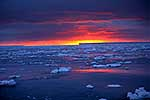 Antarctica sunset over ice & sea