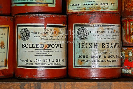John Moir and Son Ltd Boiled Fowl and Irish Brawn tins in kitchen of Ernest Shackleton's British Antarctic (Nimrod 1907-09) Expedition hut, Cape Royds, Ross Island, Antarctica stock photo.