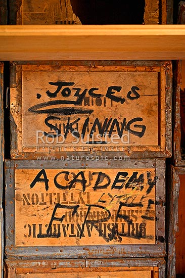 Ernest Mills Joyce's famous sign for 'Joyces Skinning Academy free' in Shackleton's British Antarctic (Nimrod 1907-09) Expedition hut, Cape Royds, Ross Island, Antarctica stock photo.