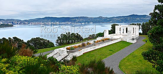 Overlooking the Massey Memorial commemorating William Ferguson Massey, Prime Minister, and Wellington Harbour and city from Point Halswell, Wellington, Wellington City District, Wellington Region, New Zealand (NZ) stock photo.