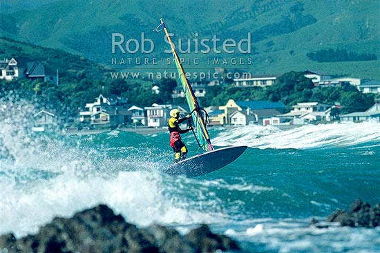 Windsurfer, Plimmerton, Plimmerton, Porirua City District, Wellington Region, New Zealand (NZ) stock photo.