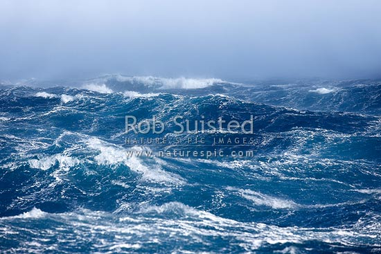 Violent storm seas gusting to hurricane strength. Wind lashed waves in polar water. Beaufort Scale 10 gusting to 12. Extreme weather, Antarctic Sound, Antarctica Region, Antarctica stock photo.