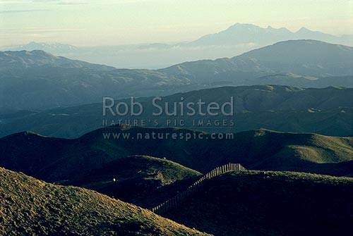 Overlooking Cook Strait to the Kaikoura Mountains across farmland and native bush from Colonial Knob, Porirua, Wellington, Wellington City District, Wellington Region, New Zealand (NZ) stock photo.