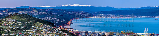 Wellington and Hutt Valley winter panorama with Tararua Ranges beyond. Wadestown, Thorndon and Kaiwharawhara in foreground, Johnsonville left, Hutt City and Petone at left. Winter dusk, Wellington, Wellington City District, Wellington Region, New Zealand (NZ) stock photo.