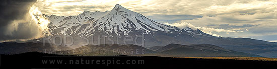 Mt Ruapehu (2797m) with storm weather gathering from the South. Rangipo Desert and Desert Road. Seen from SH1. Panorama towards Tukino, Waiouru, Ruapehu District, Manawatu-Wanganui Region, New Zealand (NZ) stock photo.