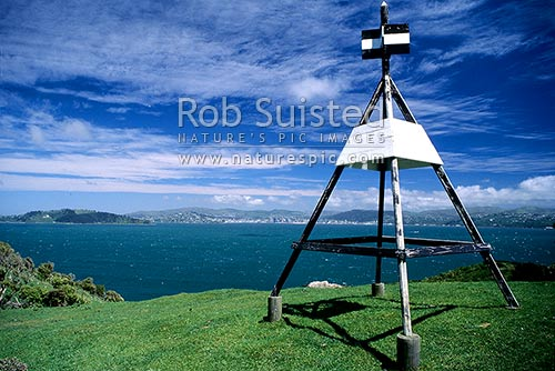 Trig station on top of Somes/Matiu Island; looking south west, Wellington, Wellington City District, Wellington Region, New Zealand (NZ) stock photo.