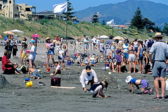 Under 6 kids and parents enjoying the Raumati Beach sand sculpture competition, Raumati, Kapiti Coast District, Wellington Region, New Zealand (NZ) stock photo.